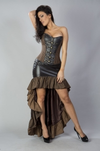 Gemini corset brown stripes