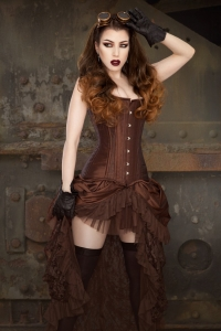 Elvira skirt brown taffeta