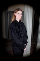 Cotton frill shirt black