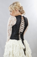 Juliette black scroll brocade