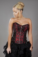 Rock corset red brocade